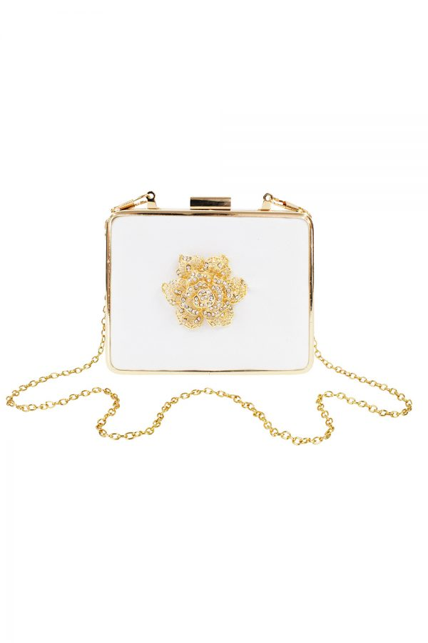 ivory satin square clutch bag