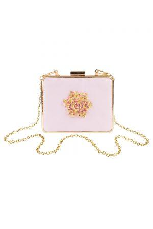 powder pink jewelled clutch bag