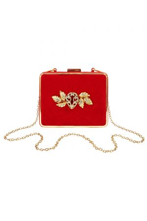 red velvet square clutch bag