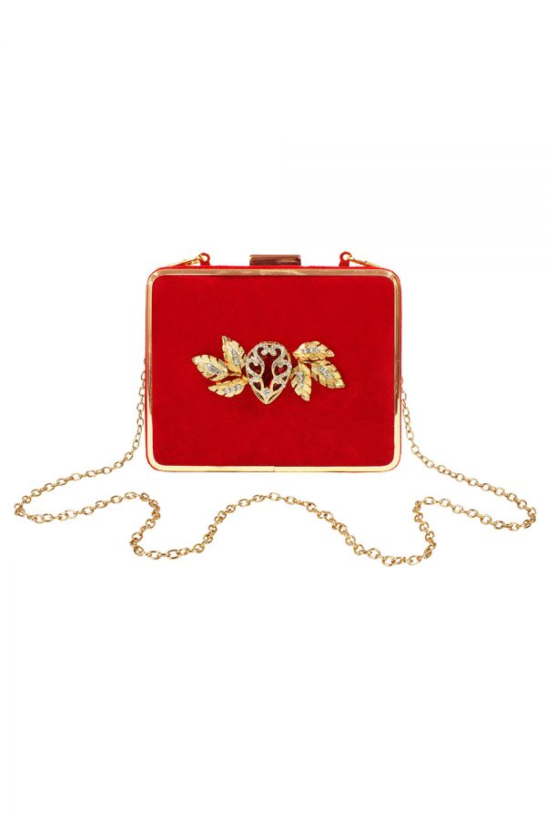 red velvet square clutch bag