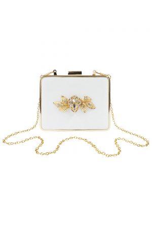 ivory satin square clutch bag