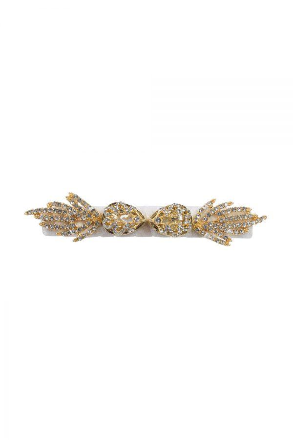 embellished ivory velvet hairclip