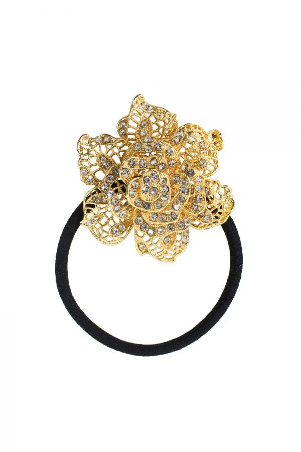 gold and diamante rose scrunchie