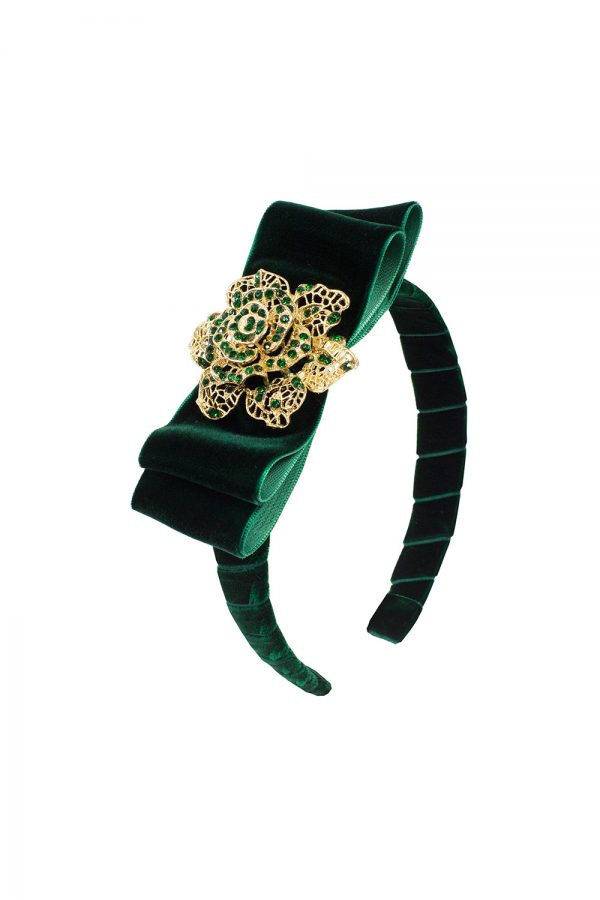 green bow trim Alice band
