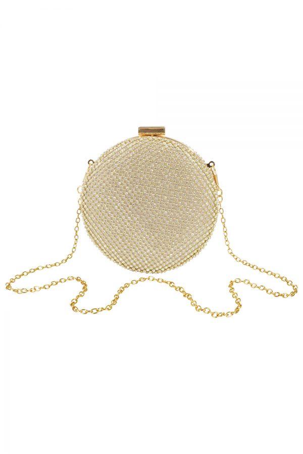 gold embellished circle bag