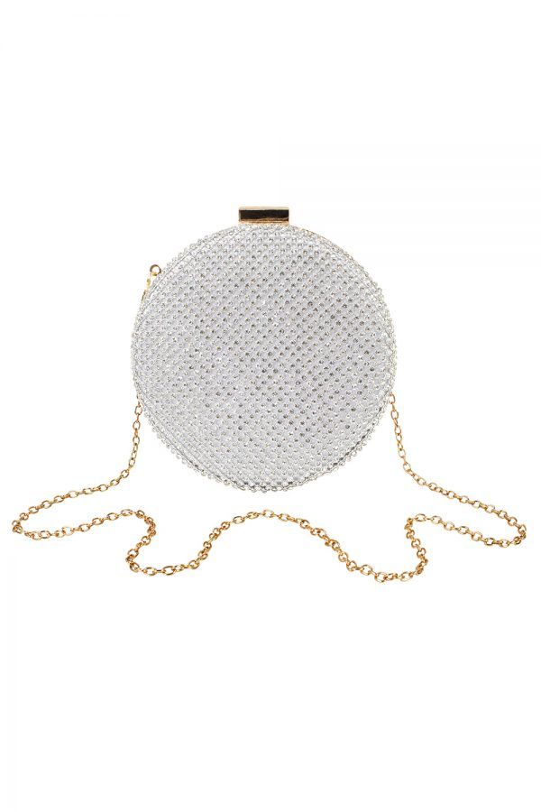 silver sparkle circle bag