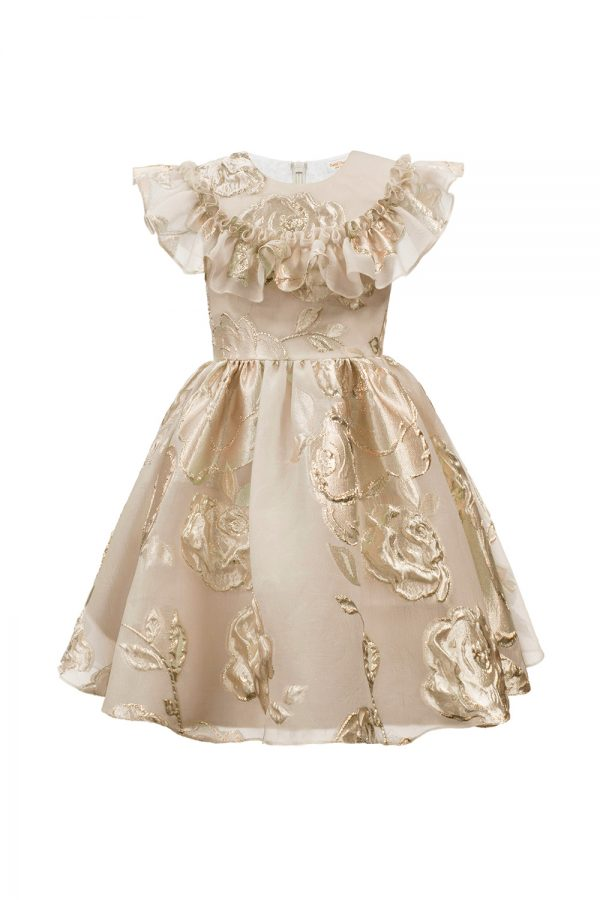 gold floral frill party gown