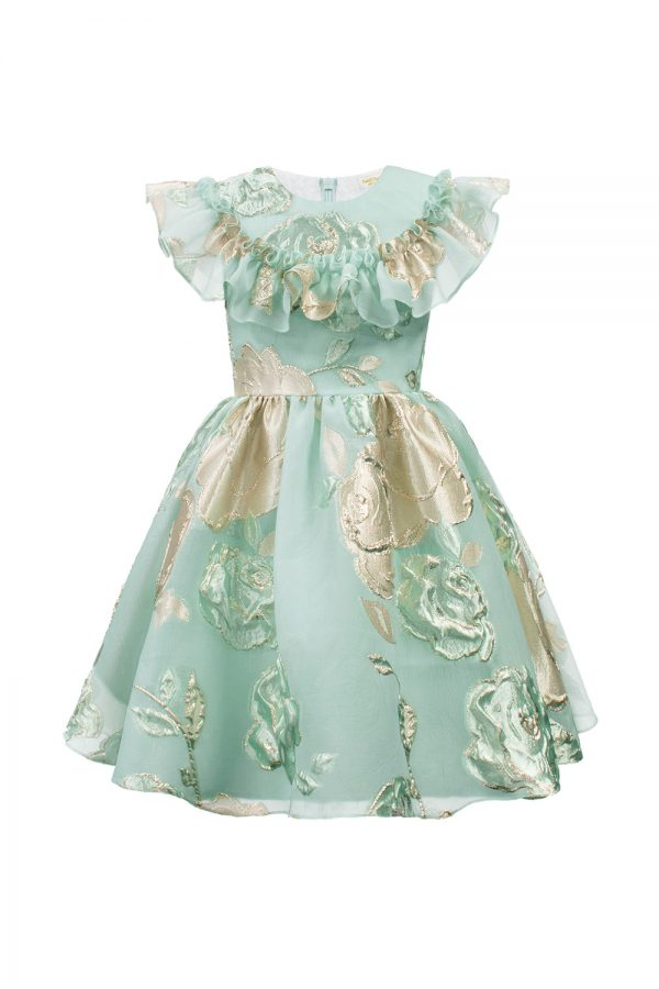 turquoise floral ball gown
