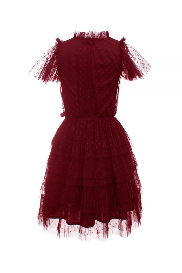 red wine prom gown