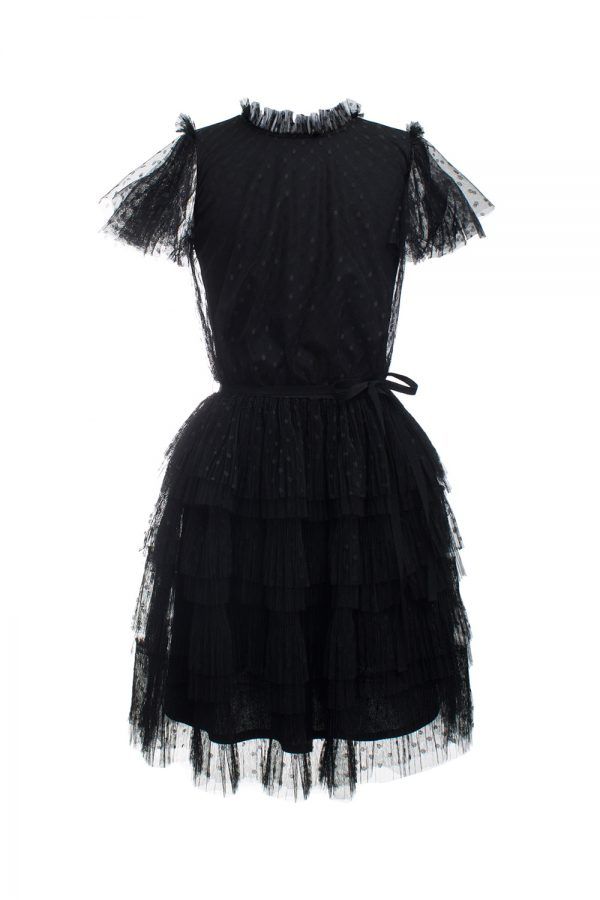black polka dot party dress