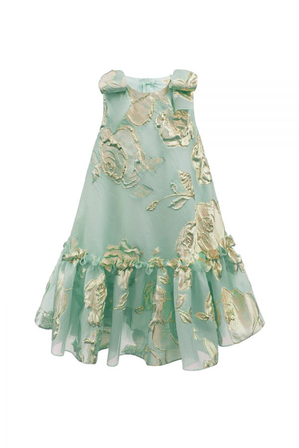 turquoise gold rose tea dress