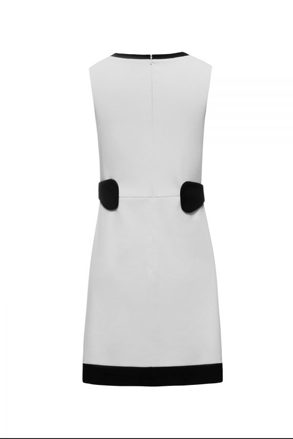 ivory and black formal dress