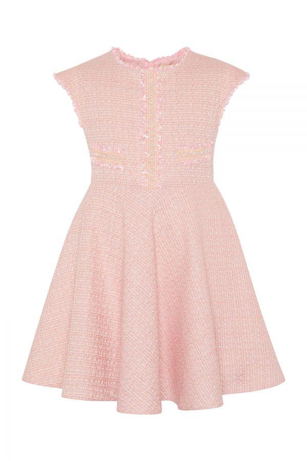 rose pink tweed dress