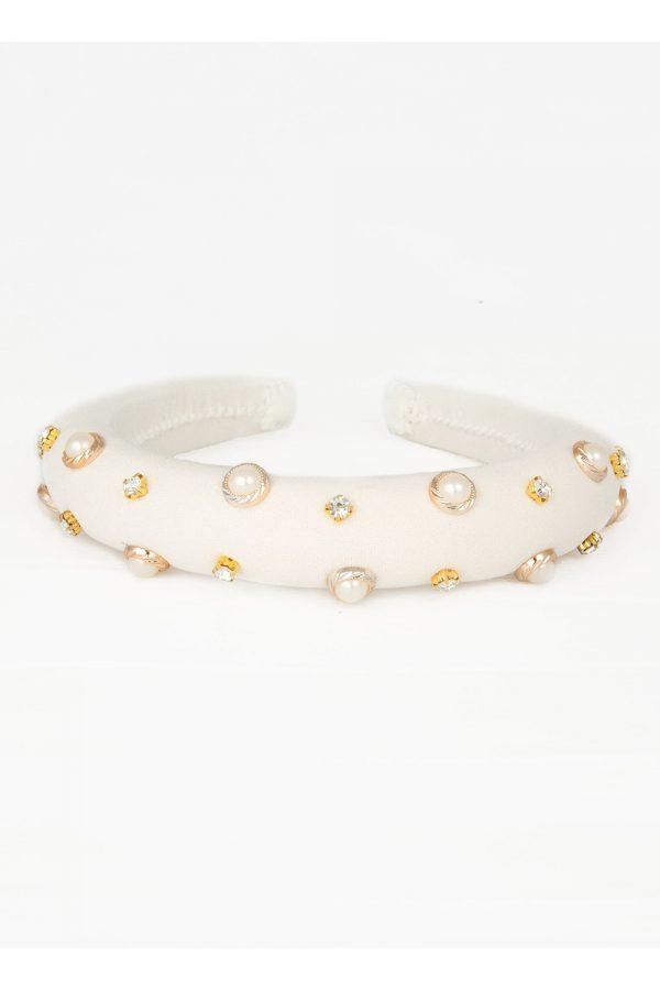 ivory pearl jewel hair band