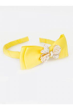 yellow sparkle bow hair band