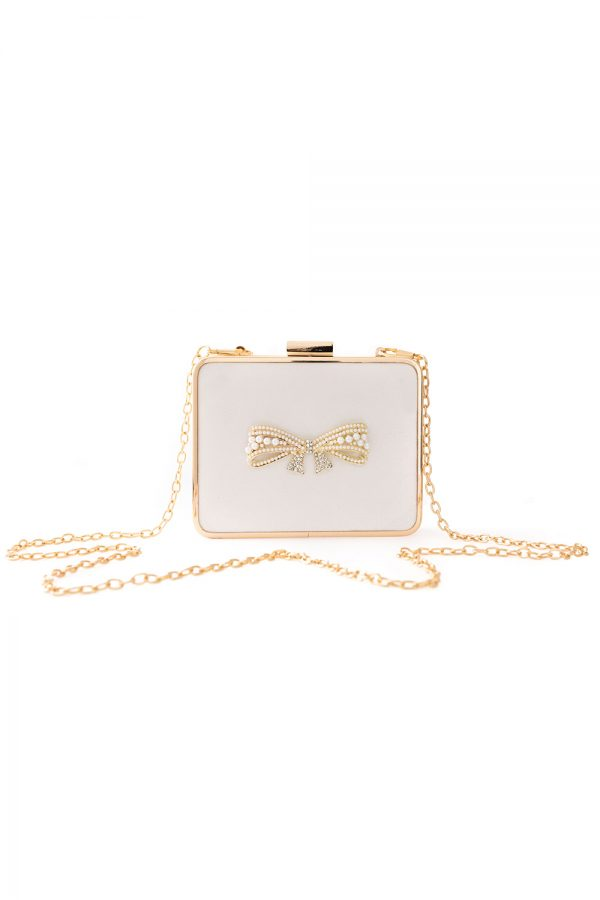 ivory pearl bow clutch
