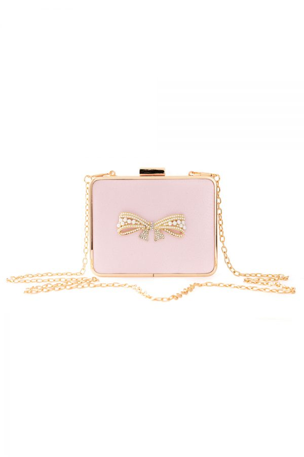 candy pink pearl bow clutch