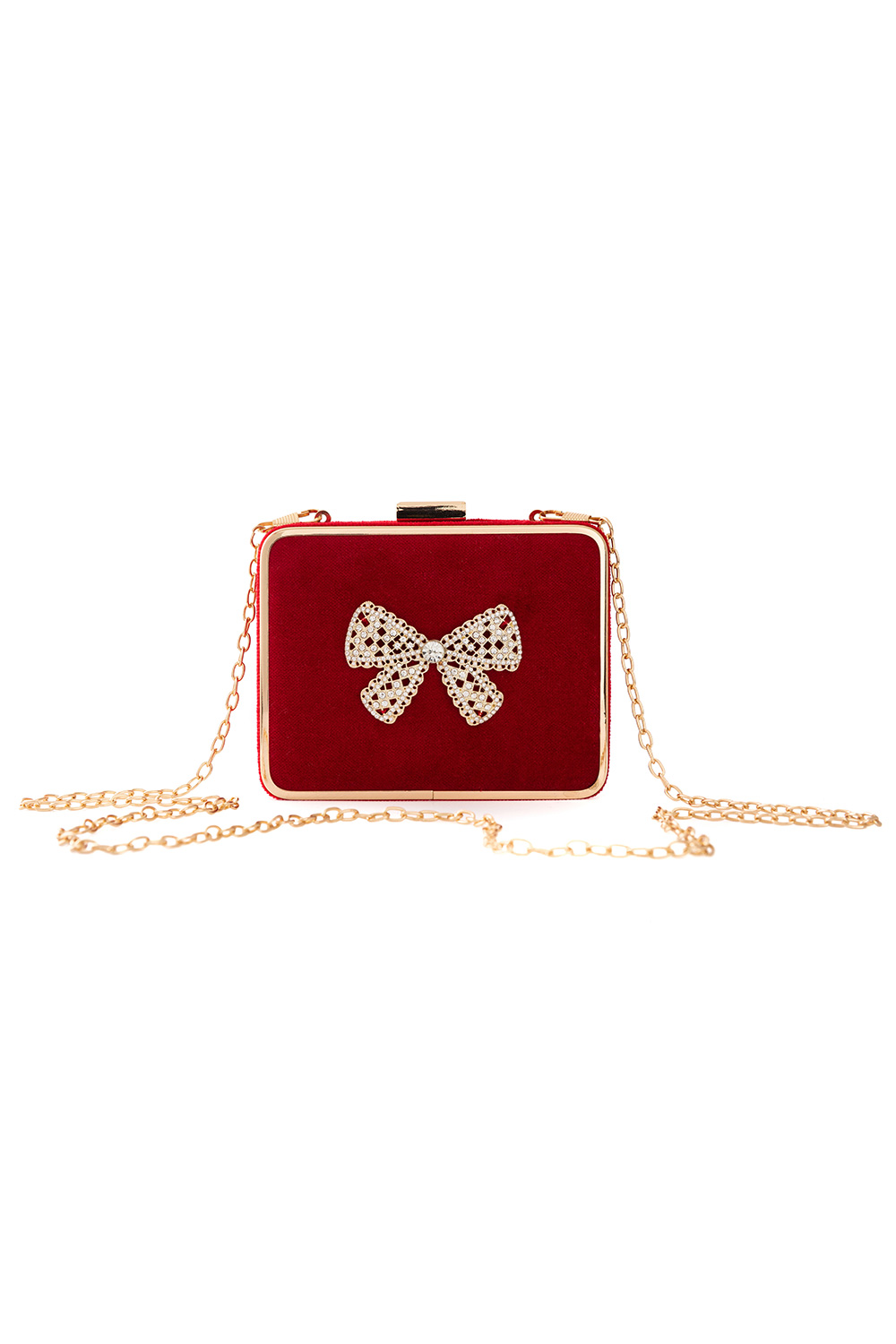 cherry red embellished clutch