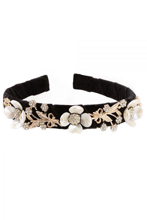 black velvet bridesmaid hair band