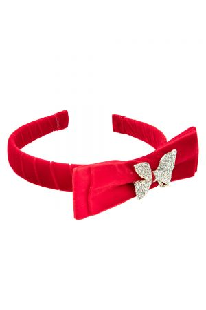 ruby red bow hair band
