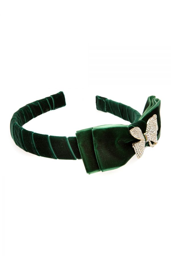 jewel green bow hair band