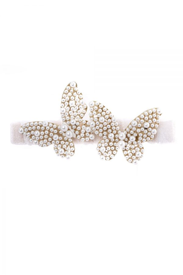 ivory pearl butterfly hair clip