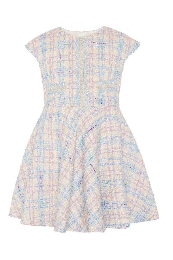 blue checkered tweed dress