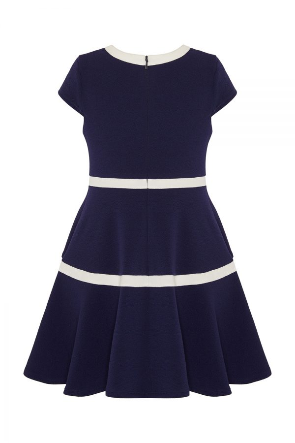 navy and ivory formal dress