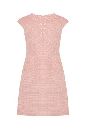 petal pink tweed birthday dress