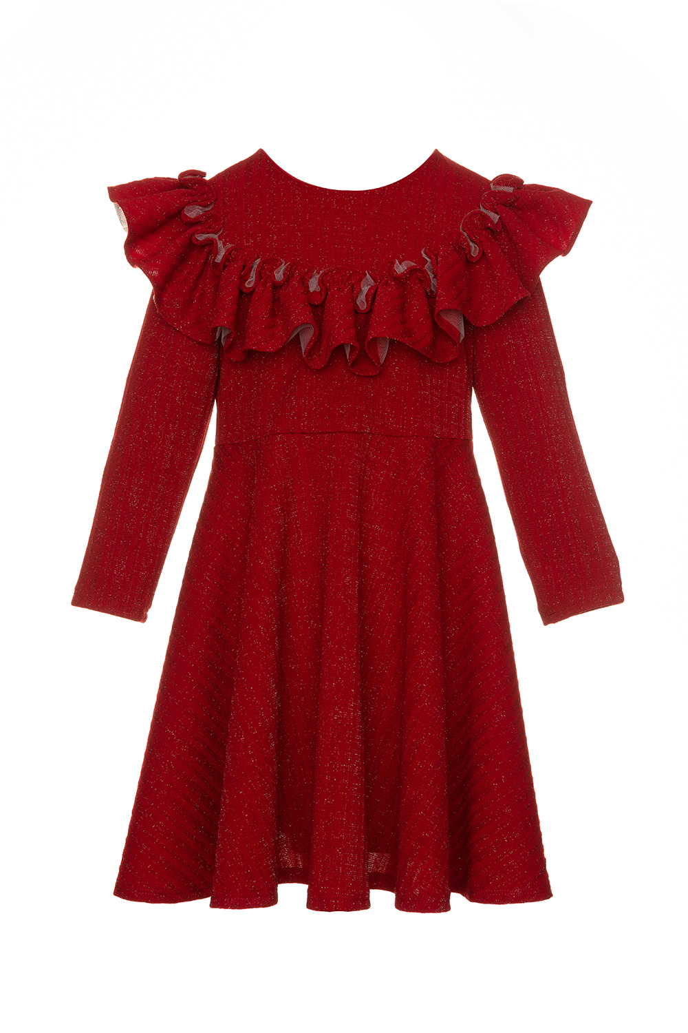 red frill long sleeve dress