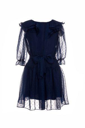 navy tie-waist birthday dress