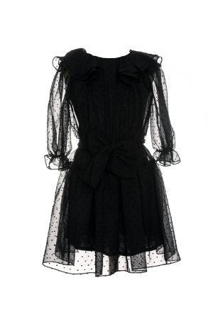 black tie-waist prom dress