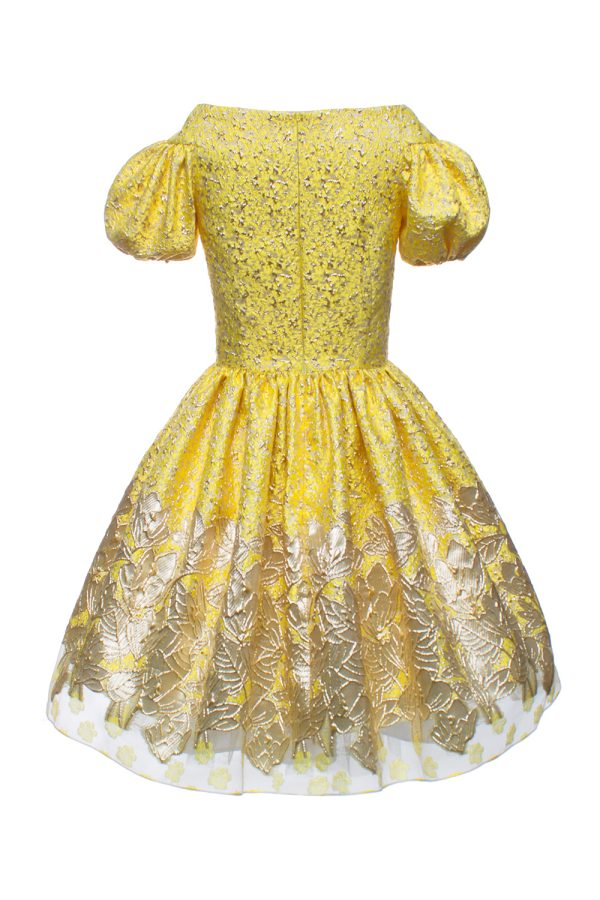 canary yellow brocade ball gown