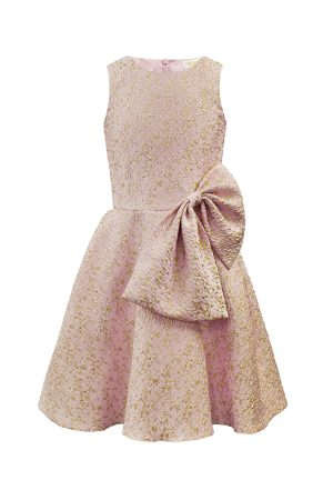 pink and gold bow dress
